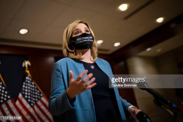 March 9: Rep. Ashley Hinson, R-Iowa, speaks during a news conference with other House Republican members in Washington on Tuesday, March 9, 2021.