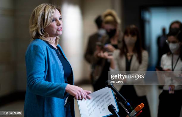 Rep. Ashley Hinson, R-Iowa, speaks to reporters after the House Republican Conference meeting in the Capitol Visitor Center on Tuesday, March 9, 2021.