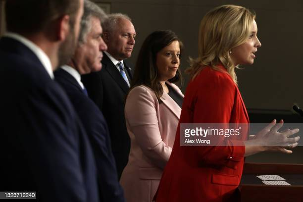 Rep. Ashley Hinson speaks as House Republican Conference Chair Rep. Elise Stefanik , House Minority Whip Rep. Steve Scalise , and Rep Michael McCaul...