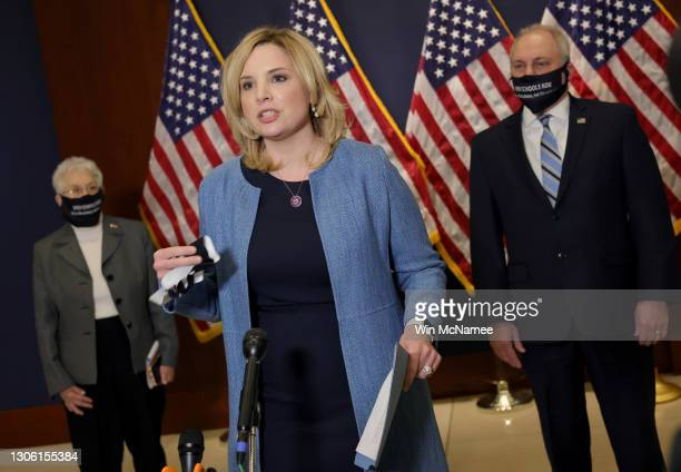 Rep. Ashley Hinson speaks at a press conference following a conference meeting at the U.S. Capitol on March 09, 2021 in Washington, DC. Members of...