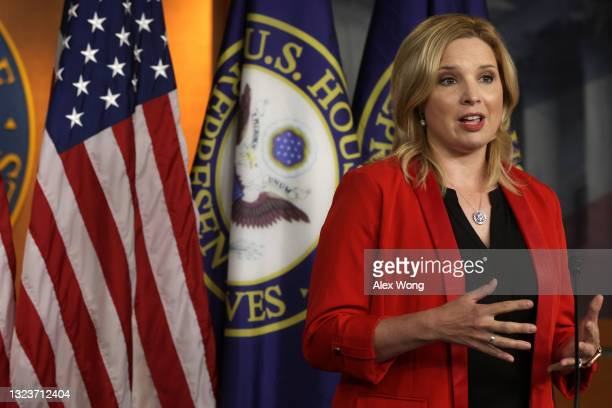 Rep. Ashley Hinson speaks during a news conference at the U.S Capitol June 15, 2021 in Washington, DC. House Republicans had a meeting earlier in the...