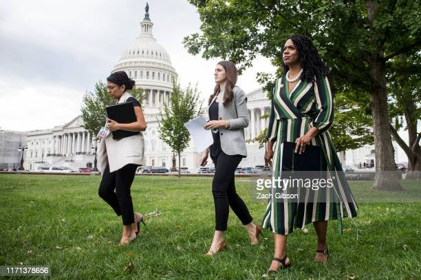 S Rep Ayanna Pressley arrives before speaking at a rally hosted by Progressive Democrats of America on Capitol Hill on September 26 2019 in...