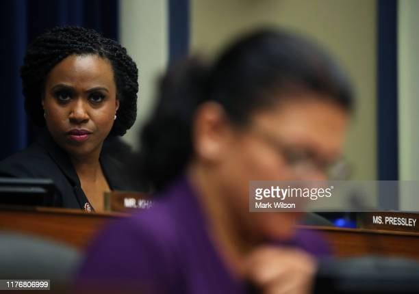 Rep Ayanna Pressley participates in a House Oversight and Reform SubCommittee hearing on Capitol Hill September 24 2019 in Washington DC The hearing...