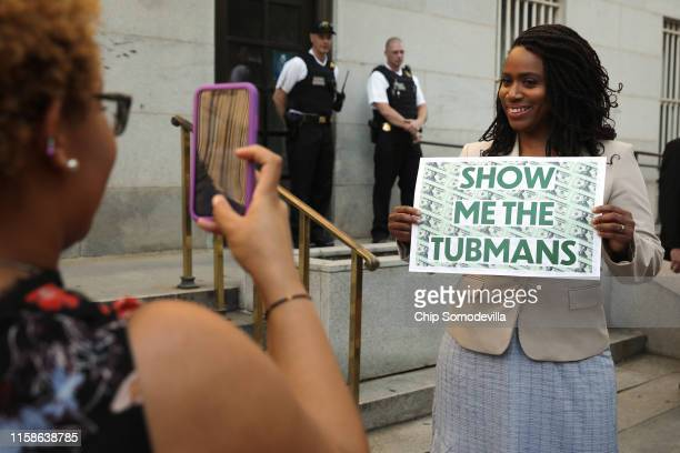 Rep. Ayanna Pressley poses for a photograph before a rally with fellow House Democrats to demand that American abolitionist heroine Harriet Tubman's...