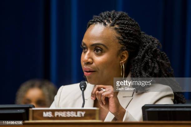 Rep Ayanna Pressley speaks during a House Oversight and Reform subcommittee on Civil Rights and Civil Liberties hearing discussing migrant detention...