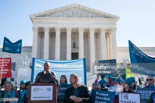 Rep Ayanna Pressley speaks in an abortion rights rally outside of the Supreme Court as the justices hear oral arguments in the June Medical Services...
