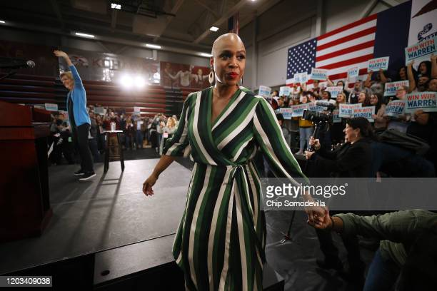 Rep Ayanna Pressley steps off stage after introducing Democratic presidential candidate Sen Elizabeth Warren during a campaign rally at Kohawk Arena...