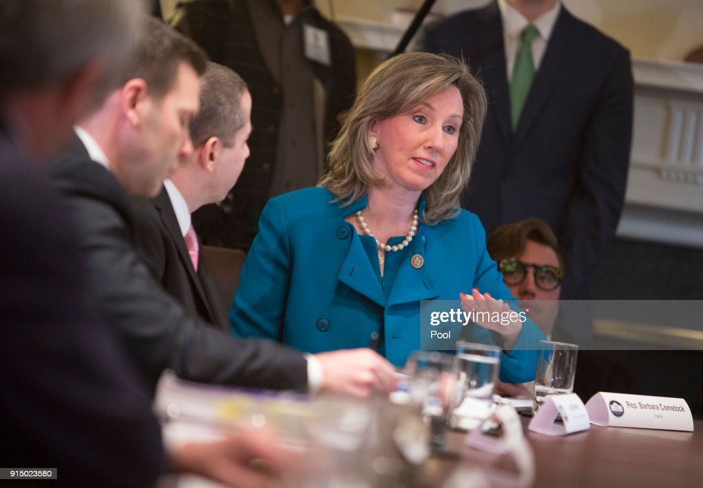 Rep. Barbara Comstock (R-VA) participates in a law enforcement round table on MS-13 hosted by President Donald Trump at the White House on February 6, 2018 in Washington, DC.