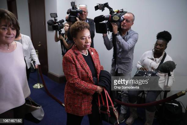 Rep Barbara Lee arrives for a Democratic caucus meeting in the US Capitol Visitors Center November 14 2018 in Washington DC Democrats gained 33 seats...