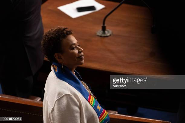 Rep Barbara Lee before US President Donald Trump's second State of the Union address to a joint session of Congress at the US Capitol in Washington...