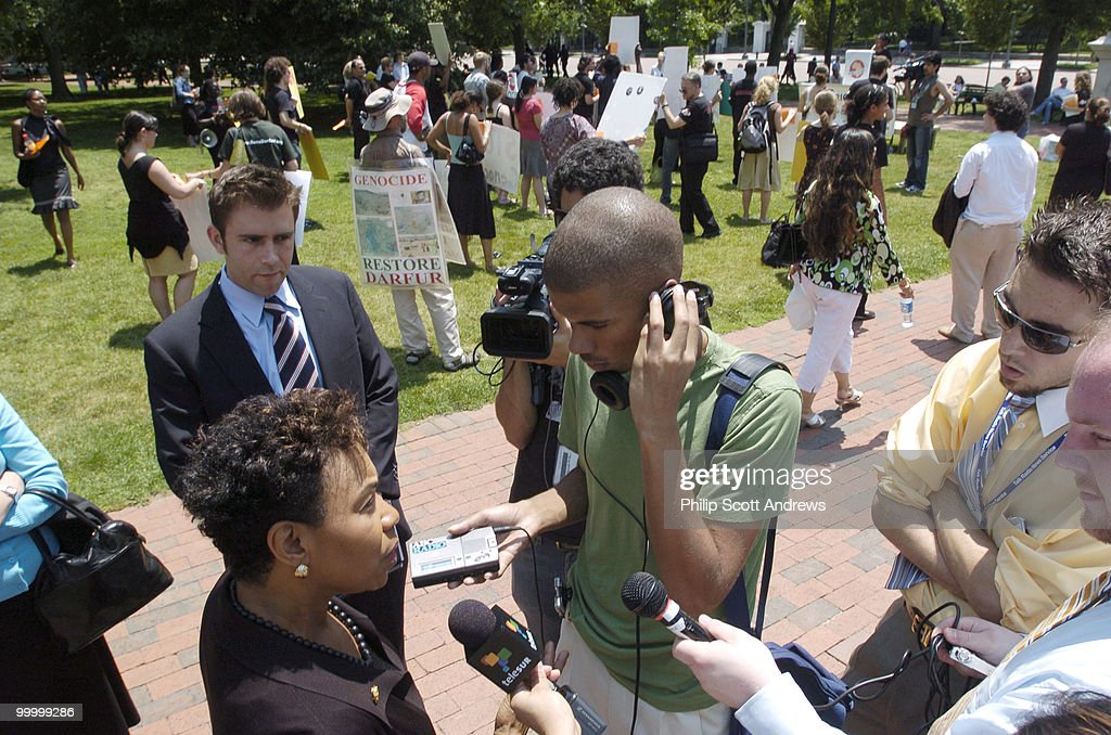 Rep. Barbara Lee, D-Ca, speaks to members of the press at a rally in front of the White House. The rally was held by Africa Action and was intended to highlight the escalating crisis in the Darfur region of Sudan.
