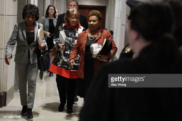 S Rep Barbara Lee leaves with Rep Jackie Speier and Rep Maxine Waters after a session of House Democrats organizational meeting to elect leadership...