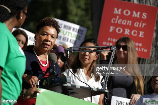 Rep Barbara Lee participates in a rally organized by Mom's Mobilize Green For All and Moms Clean Air Force on Capitol Hill September 27 2017 in...