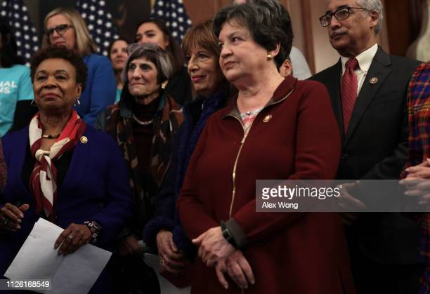 US Rep Barbara Lee Rep Rosa DeLauro Rep Jackie Speier Rep Lois Frankel and Rep Bobby Scott listen during a news conference at the US Capitol January...