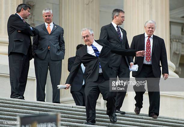 Rep Barney Frank DMass slips on the House steps as member of Congress adjourn early following their last vote of the week on Wednesday Dec 5 2012