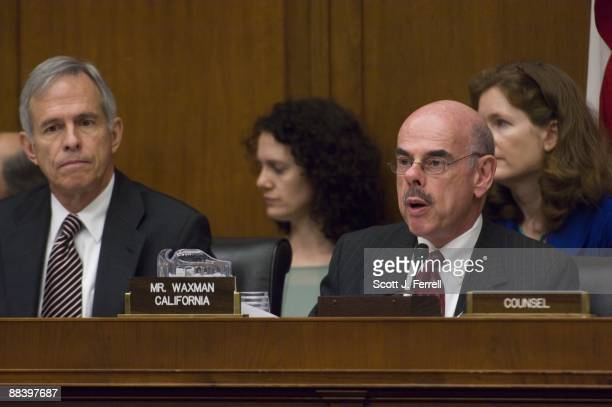 Rep Bart Gordon DTenn and full committee Chairman Henry A Waxman DCalif during the House Energy and Commerce Subcommittee on Health markup of a bill...