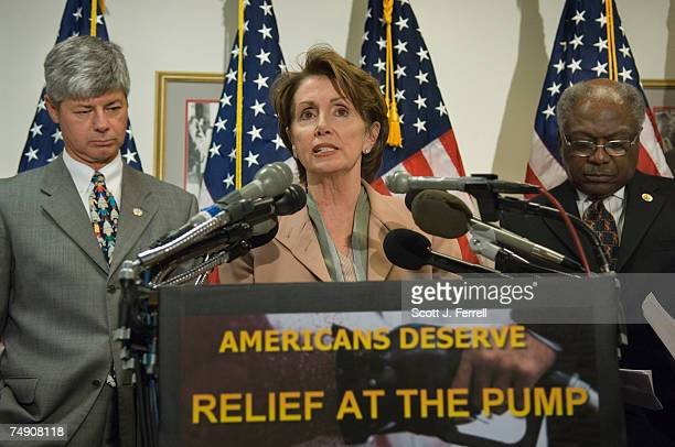 Rep Bart Stupak DMich House Minority Leader Nancy Pelosi DCalif and Rep James E Clyburn DSC during a news conference on rising gasoline prices