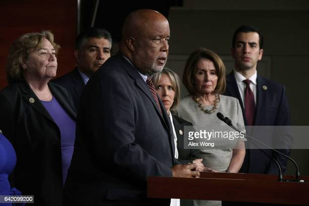 S Rep Bennie Thompson speaks as Rep Michelle Lujan Grisham Chair of Congressional Hispanic Caucus House Minority Leader Rep Nancy Pelosi and other...