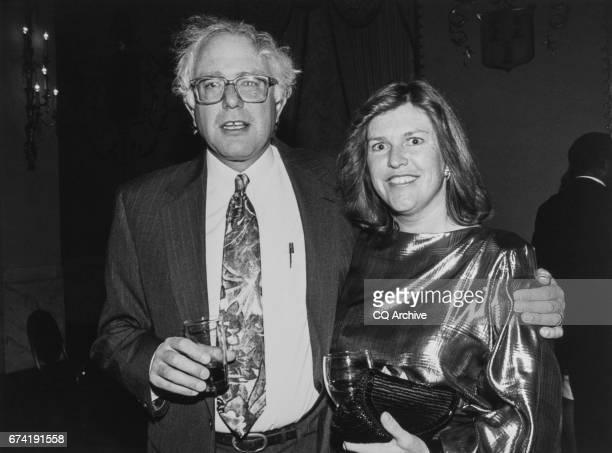 Rep Bernie Sanders INDVt and wife Jane O'Meara Sanders at the Peace Links Gala on Dec 10 1992