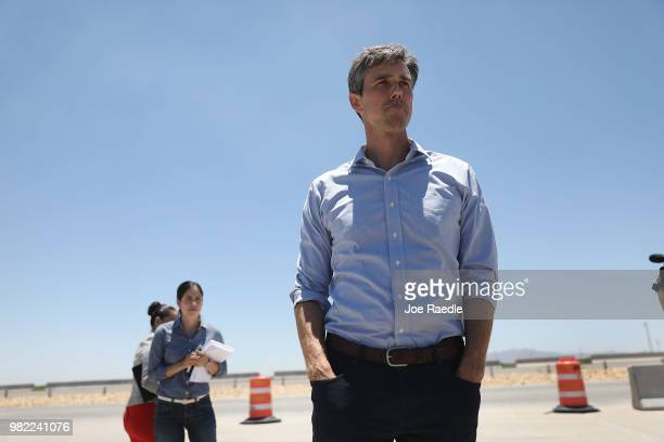 Rep Beto O'Rourke arrives for a tour with other politicans of the tent encampment recently built near the TornilloGuadalupe Port of Entry on June 23...