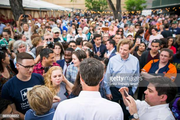 Rep Beto O'Rourke meets with supporters following a speech at Scholz Garten on April 1 2017 in Austin Texas O'Rourke announced his plan to run for...