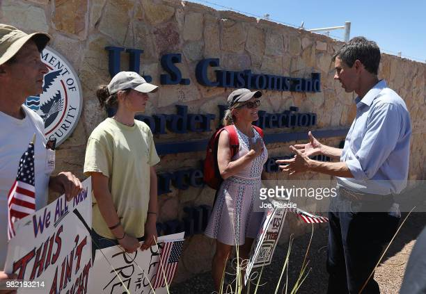 Rep Beto O'Rourke speaks to supporters after touring the tent encampment near the TornilloGuadalupe Port of Entry on June 23 2018 in Tornillo Texas A...