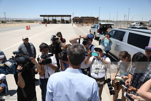 Rep Beto O'Rourke speaks to the media as he arrives for a tour of the tent encampment near the TornilloGuadalupe Port of Entry on June 23 2018 in...