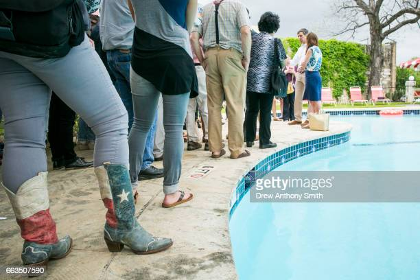 Rep Beto O'Rourke with wife Amy Hoover Sanders by his side holds a fundraiser at the Austin Motel on April 1 2017 in Austin Texas O'Rourke announced...
