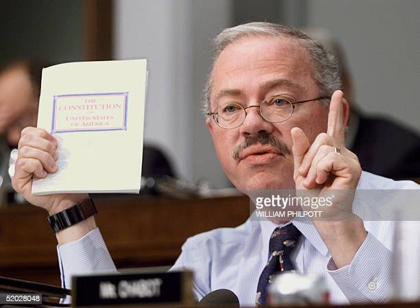 Rep Bob Barr holds a copy of the US Constitution during the impeachment inquiry by the US House of Representatives Judiciary Committee of US...