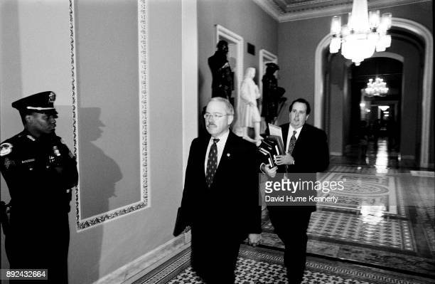 Rep Bob Barr one of the House Managers arrives at the US Capitol Building for the Senate Impeachment Trial of President Bill Clinton on January 15...