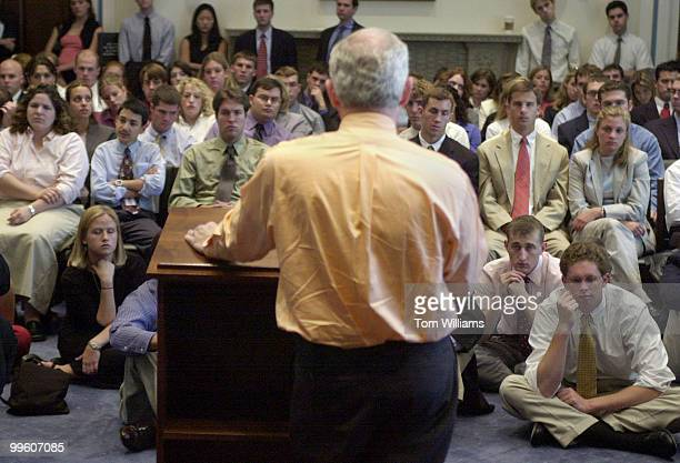 Rep Bob Barr RGA addresses a group of summer interns as part of the 2001 Congressional Intern Lecture Series featuring about twenty speakers...