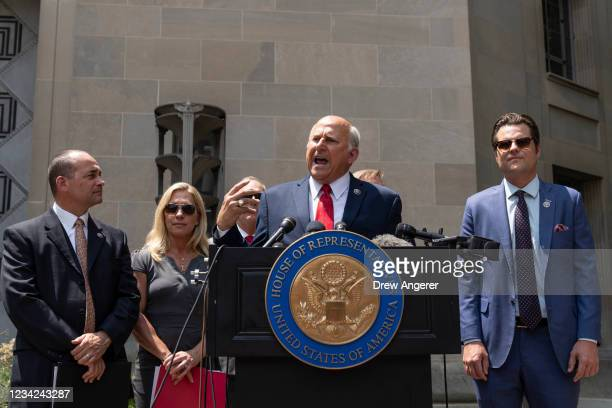 Rep. Bob Good , Rep. Marjorie Taylor Greene , Rep. Andy Biggs , Rep. Louie Gohmert , and Rep. Matt Gaetz hold a news conference outside the U.S....