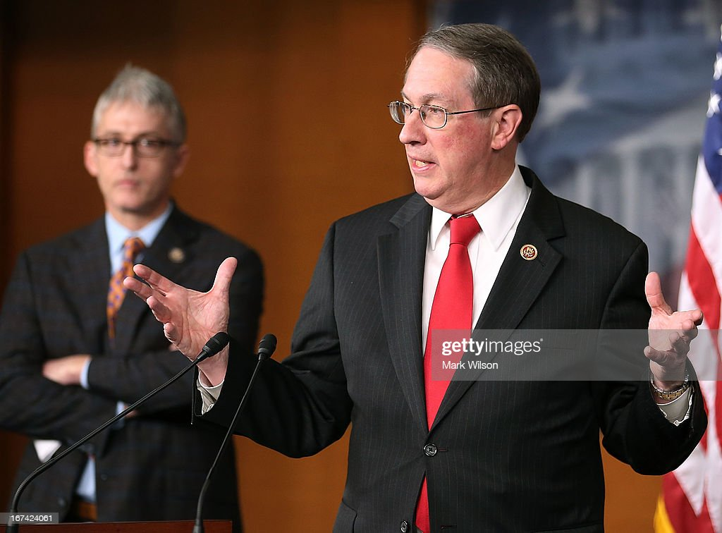 Rep. Bob Goodlatte (R-VA) (R), Chairman of the House Judiciary Committee, and Rep. Trey Gowdy (R-SC) speak about immigration during a news conference on Capitol Hill, April 25, 2013 in Washington, DC. The news conference was held to discuss immigration control issues that are before Congress.