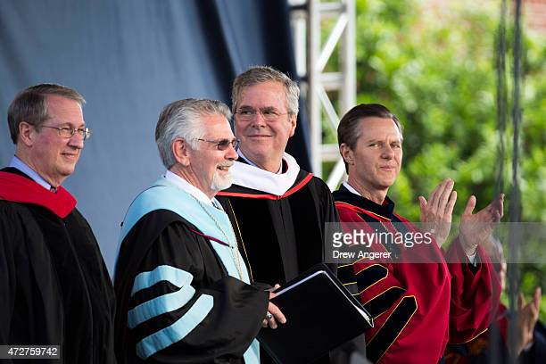 Rep Bob Goodlatte Liberty University provost Ronald Hawkins Republican US presidential hopeful former Florida governor Jeb Bush and Liberty...