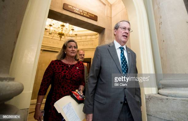 Rep Bob Goodlatte RVa followed by Rep Ann Wagner RMo leaves Speaker Ryan's offices on Thursday May 21 as House GOP leadership tries to find a path to...