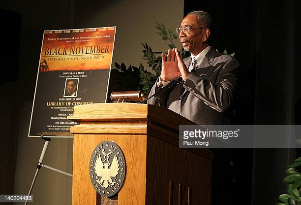 Rep Bobby Rush makes a few remarks at the 'Black November' film screening at The Library of Congress on February 29 2012 in Washington DC