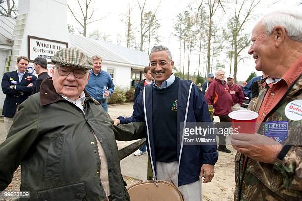 Rep. Bobby Scott, D-Va., center, greets Herbert Staples left, at the Wakefield Ruritan Club Shad Planking in Wakefield, Va., April 15, 2009.