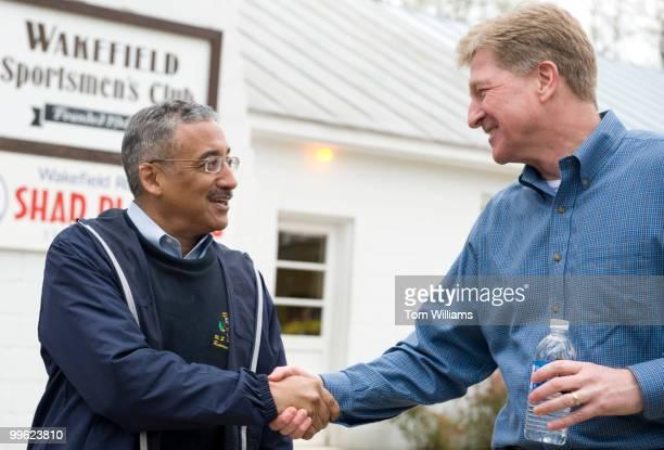 Rep. Bobby Scott, D-Va., left, greets Virginia gubernatorial candidate Brian Moran at the Wakefield Ruritan Club Shad Planking in Wakefield, Va.,...