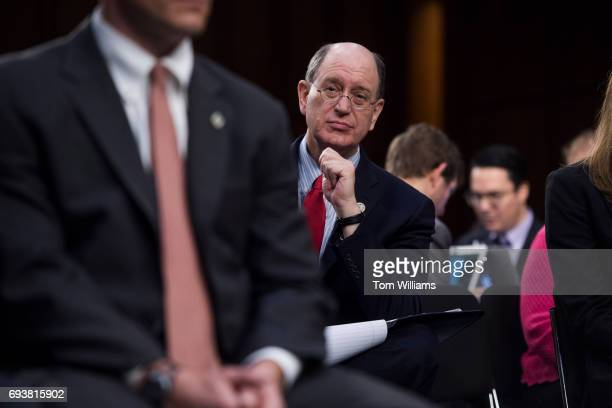 Rep Brad Sherman DCalif attends a Senate Select Intelligence Committee hearing about Russian interference in the 2016 election featuring testimony by...