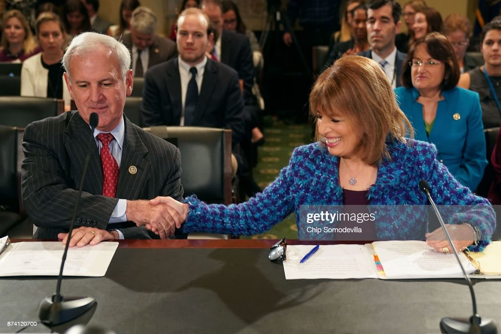 Rep. Bradley Byrne (R-AL) (L) and Rep. Jackie Speier (D-CA) prepare to testify before the House Administration Committee in the Longworth House Office Building on Capitol Hill November 14, 2017 in Washington, DC. In the wake of recent high-profile accusations of sexual assult and harassment by powerful people in politics, publishing, journalism, the arits and other areas, the committee recieved testimony about the need for manditory education and increased compliance to prevent sexual harassment in the Congressional workplace.