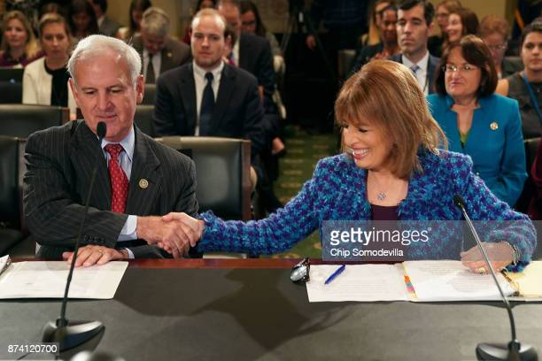 Rep Bradley Byrne and Rep Jackie Speier prepare to testify before the House Administration Committee in the Longworth House Office Building on...
