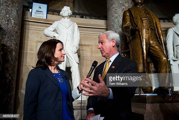 Rep Bradley Byrne RAla talks with Christina Bellantoni of Roll Call in Statuary Hall after President Barack Obama's State of the Union address in the...