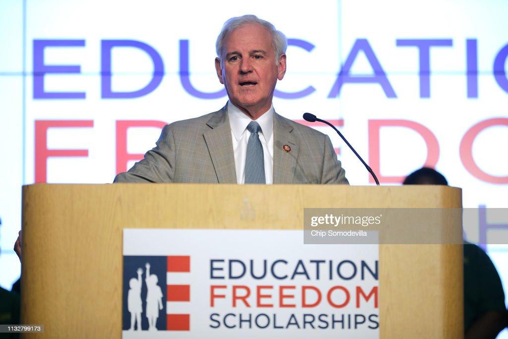 Education Secretary Betsy DeVos Holds A Press Conference With Sen. Ted Cruz and Rep. Bradley Byrne : News Photo