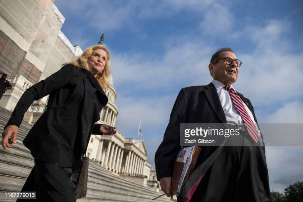 Rep Carolyn Maloney and House Judiciary Committee Chairman Jerrold Nadler depart following an observance and campus wide moment of silence for the...