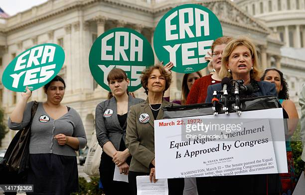 S Rep Carolyn Maloney and representatives of women's groups hold a rally to mark the 40th anniversary of congressional passage of the Equal Rights...
