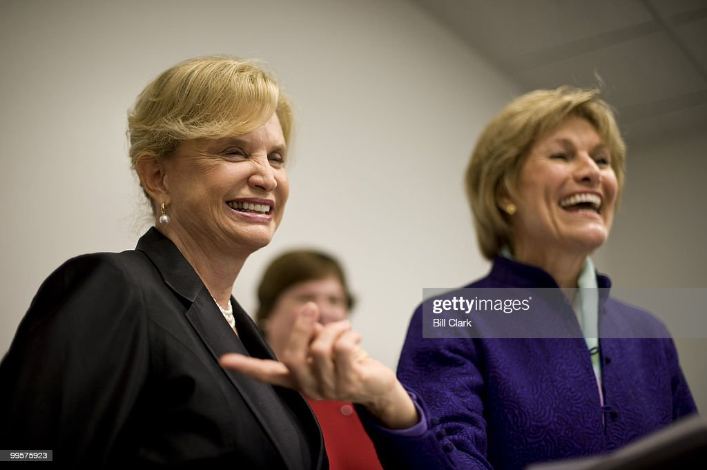 Rep. Carolyn Maloney, D-N.Y., left, and Joan Wages, President and CEO National Women's Museum Foundation, hold a news conference on Thursday, oct. 15, 2009, on the passage of House legislation for the acquisition of land on the National Mall for the National Women's Museum