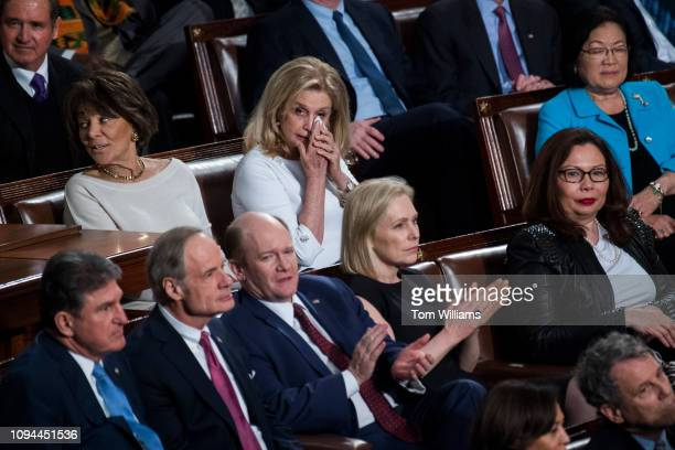 Rep Carolyn Maloney DNY top center is seen in the House Chamber as President Donald Trump delivered his State of the Union address on Tuesday...