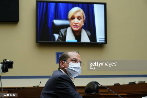 Rep. Carolyn Maloney speaks virtually as Secretary of Health and Human Services Alex Azar testifies before the House Select Subcommittee on the...
