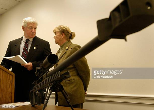 Rep Carolyn McCarthy DNY and Rep James Moran DVa before a news conference to reintroduce legislation 'The50 Caliber Sniper Rifle Reduction Act' The...
