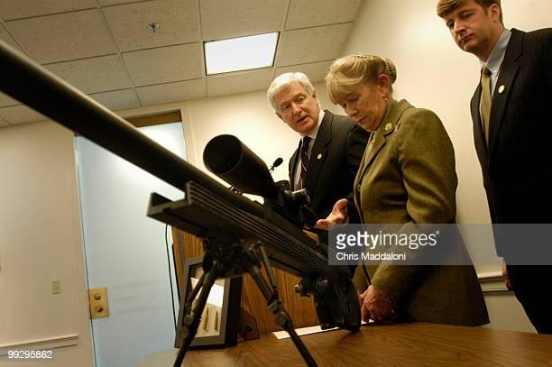 Rep Carolyn McCarthy DNY Rep James Moran DVa and Rep Patrick Kennedy DRI at a news conference to reintroduce legislation 'The50 Caliber Sniper Rifle...